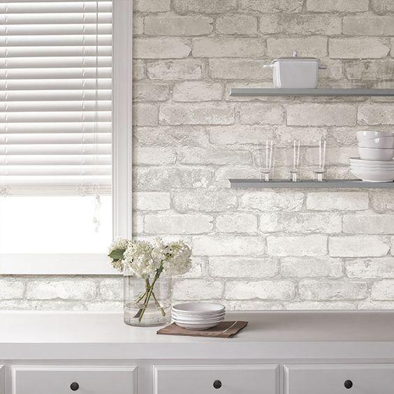 tapeta imitująca ścianę z białej cegły