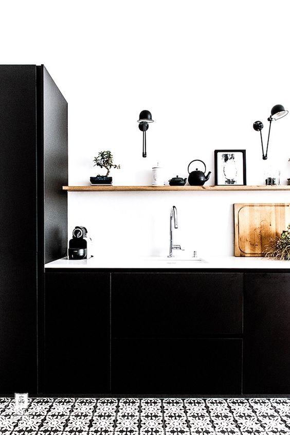 modna czarno biała kuchnia