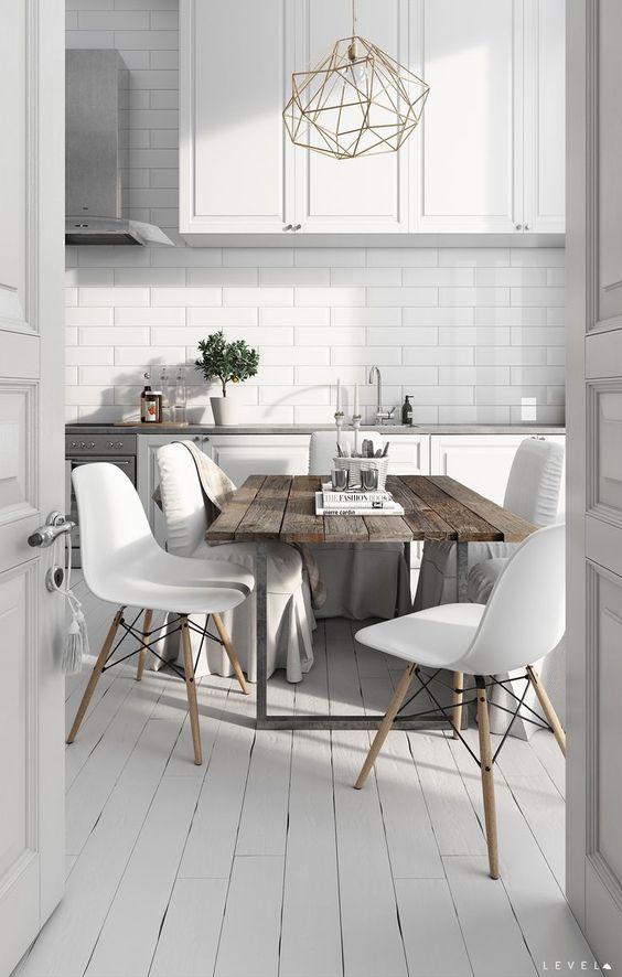 podłoga drewniana w kuchni skandynawskiej