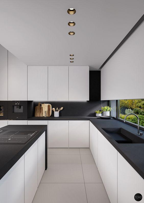 czarno biała kuchnia nowoczesna
